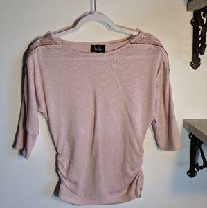 By & By light pink 3/4 sleeve sheer lace shoulders